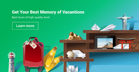 web site: illustration of loading page web site to provide tourist services