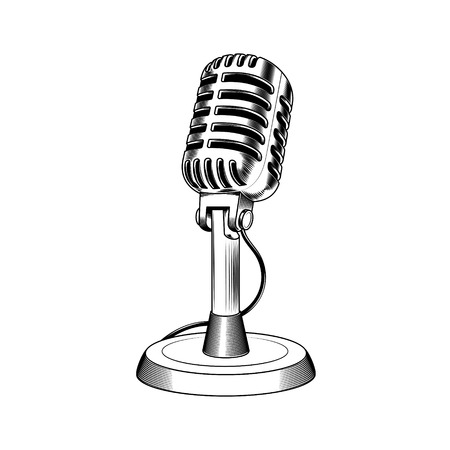 illustration old microphone made in engraving style Stock Photo