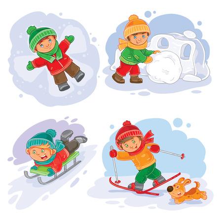 winter set icon little children making snow fort, slides on a sled, going skiing