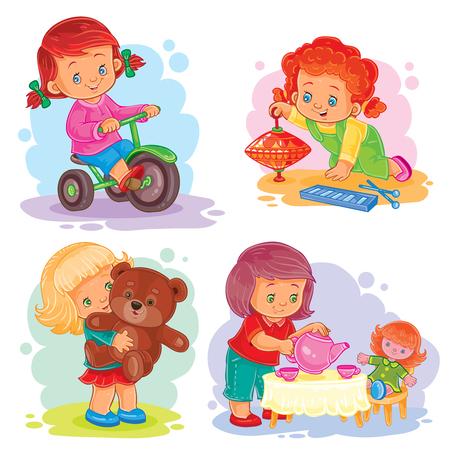 Un conjunto de iconos de niñas pequeñas jugando con juguetes