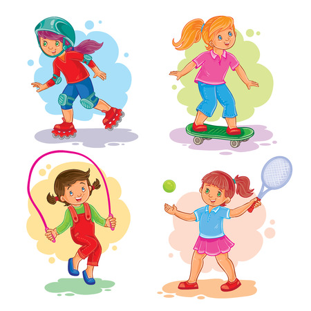 Set of icons of girls playing tennis, jumping rope, roller-skating and skateboard