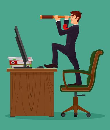 illustration of farsighted businessman boss looks in a spyglass, metaphor