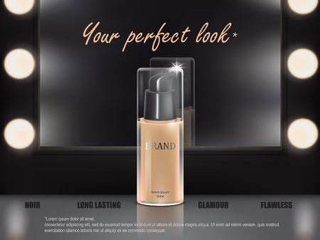 Vector 3D cosmetic illustration for the promotion of foundation premium product. Colorstay make-up in glass bottle standing on the dressing table.