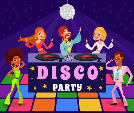 Vector cartoon illustrazione retrò di un uomo e una donna in un club discoteca. Le persone vestite con abiti degli anni '60 e '70 ballano a una festa retrò Vettoriali