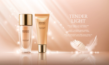 Vector 3D cosmetische illustratie voor de promotie van foundation premium product. Colorstay make-up in glazen fles en buis op een zachte beige achtergrond met een veer Stock Illustratie