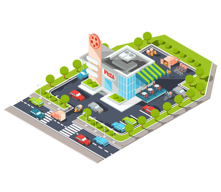 shopfront: Vector isometric illustration of a modern Italian fast food restaurant with parking. Isometric pizzeria with a giant pizza sign, Italian cuisine