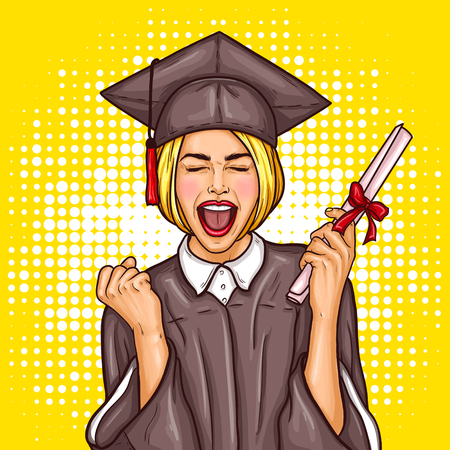 Vector pop art illustration of an excited young girl graduate student in a graduation cap and mantle with a university diploma in her hand. The concept of celebrating the graduation ceremony Vectores