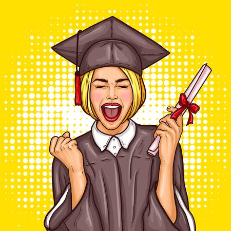 Vector illustration pop art d'une étudiante diplômée jeune fille diplômée dans un bonnet de graduation et un manteau avec un diplôme universitaire dans sa main. Le concept de célébrer la cérémonie de remise des diplômes