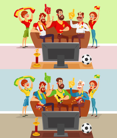 lose: Two vector cartoon illustrations of a group of friends and family members of football fans watching a football match on TV