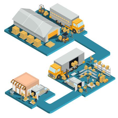 Vector el proceso isométrico de la ilustración del logístico y de la entrega del vector de mercancías de la distribución de un almacén al por mayor a una tienda al por menor