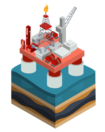Vector 3D isometric illustration, an infographic element, an oil producing offshore platform in the ocean Illustration