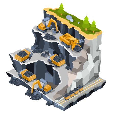 Vector 3D isometric illustration of a coal mine with miners, excavators, dumper, coal trolleys, coal cutter