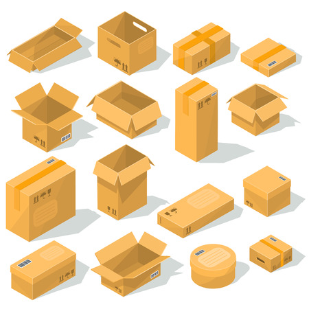 Set of vector icons cardboard packaging for delivery isolated on white background. Illustration