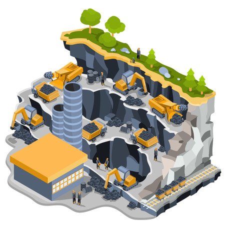 Vector 3D isometric illustration of a coal mine with miners, excavators, dumper, coal trolleys, coal cutter, coal mining plant