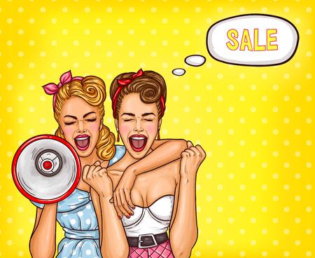 Vector la ilustración del arte pop de dos mujeres atractivas entusiastas que gritan sobre una venta.