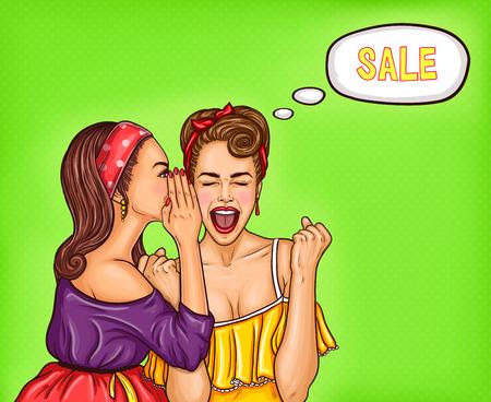 Vector pop-artillustratie van enthousiaste sexy vrouw die over een verkoop gilt.