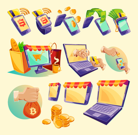 Vector cartoon illustration devices for e-payments. Icons of mobile phones, laptop, wristwatches showing the ease and convenience of online payments Illustration