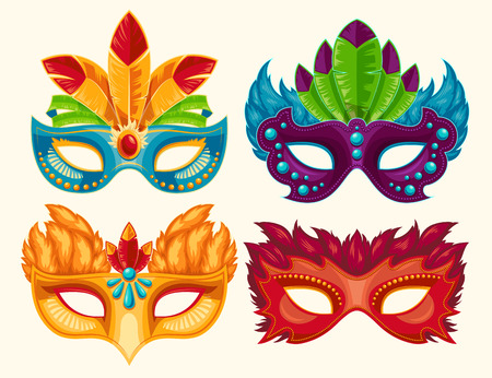 Collection of cartoon illustrations of venetian painted carnival facial masks for a party decorated with feathers and rhinestones isolated on a light background.