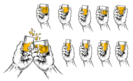 Vector illustration of two hands raised stemware with alcohol in a toast and a set of stemware of different shapes. Engraving style. Çizim