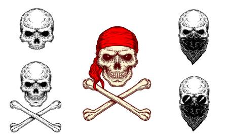 Vector De La Ilustración Del Cráneo Del Contorno Para Halloween Con ...