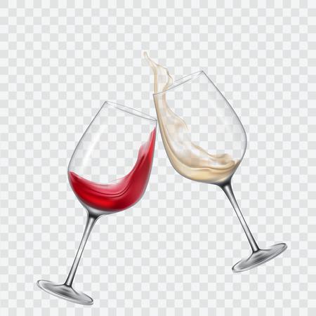 흰색과 적색 포도주가 들어간 투명 유리 세트