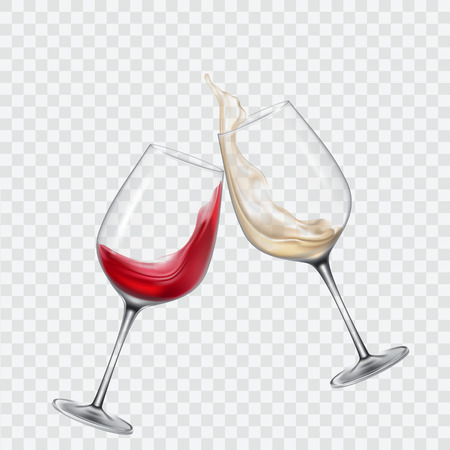Stel transparante glazen in met witte en rode wijn Stockfoto