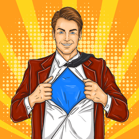pop art illustration of a super dad hero in retro style Stock Photo