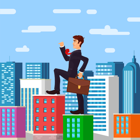 illustration of farsighted businessman boss, and metaphor Stock Photo