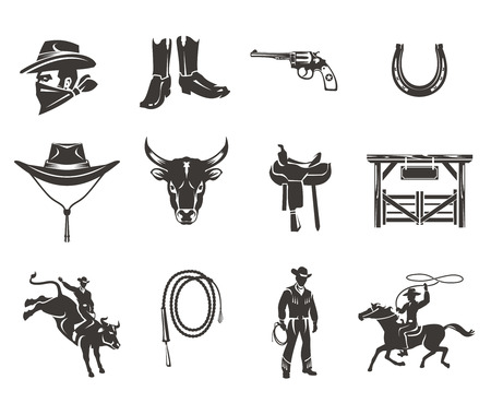 Set of rodeo icons, cowboys silhouettes riding the bull and horse and rodeo accessory isolated on white Stock Photo