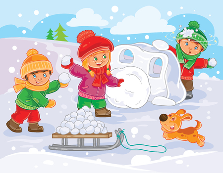winter illustration of small children playing snowballs