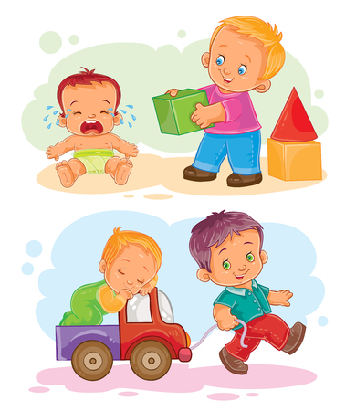 Set of icons of small children - playing with blocks with her brother, rolls his brother in a car Фото со стока