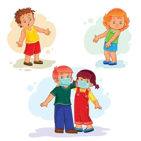 varicela: Conjunto de iconos niños pequeños enfermos. Niños y virus Foto de archivo