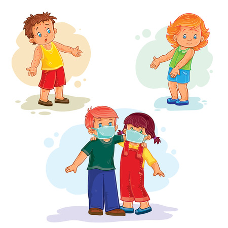 communicable: Set icons little children sick. Kids and virus