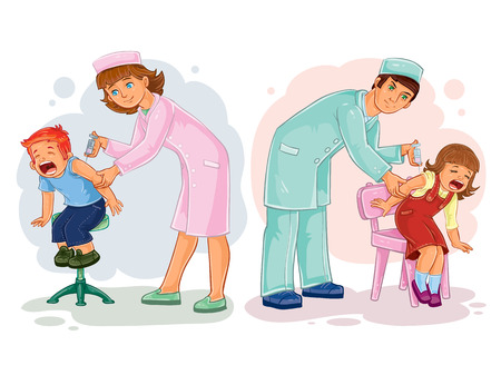 epidemy: Set illustrations of little children and vaccinations