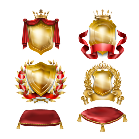 Set of vector icons of of heraldic shields with royal golden crowns isolated on white. Collection of awards for winners of competitions, design elements for a label, certificate, diploma Illustration