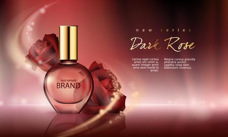 Illustrazione vettoriale di un profumo di stile realistico in una bottiglia di vetro su uno sfondo rosso vino con rose bordeaux di lusso. Ottimo poster pubblicitario per promuovere una nuova fragranza