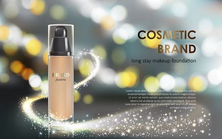 Vector 3D cosmetic illustration for the promotion of foundation premium product. Colorstay make-up in glass bottle on a gray background with a bokeh effect and a stream of sparkling dust Illustration