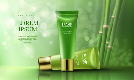Vector 3D illustration poster with day and night moisturizing cosmetic premium products, green background with beautiful tubes and bamboo shoots