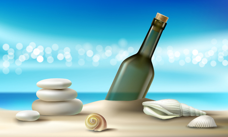 Vector illustration of empty glass bottle lying on a sandy beach with seashells and pebbles against a turquoise tropical sea and sky. Illustration