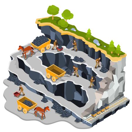 Vector 3D isometrische illustratie van een steenkoolmijngroeve met mijnwerkers, steenkoolkarretjes, door paarden getrokken karren. Het concept van kolenwinning met behulp van handarbeid