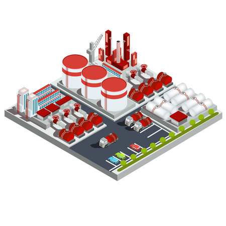 Vector isometric illustration of the oil industry. 3D icon of the oil refinery with production buildings, pipelines, tanks and trucks.