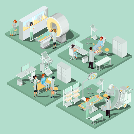 Set of 3D flat isometric illustrations interior of medical premises in the clinic MRI room, ultrasound room, gynecological office, operating room with the appropriate equipment and medical personnel Çizim