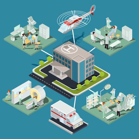 Vector ilustraciones isométricas de un edificio de clínica médica con un cojín de helicóptero, el interior de la sala de resonancia magnética, la sala de ultrasonido, la oficina ginecológica, la sala de operaciones con el equipo adecuado
