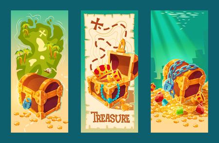 Zbiór kreskówek na białym tle wektor rocznika banery z drewniane skrzynie pełne skarbów, złotych monet i biżuterii na tle mapy skarbów i na dnie morza. Ilustracje wektorowe