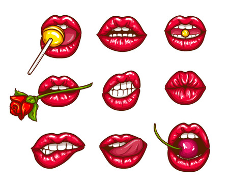 A collection of pop art icons of red female lips - ajar, bitten, kissing, with tongue, cherry and sugar candy. Badges, stickers, design elements, prints for T-shirts