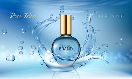 Vector el ejemplo de un perfume realista del estilo en una botella de cristal en un fondo azul con el chapoteo del agua. Gran póster publicitario para promocionar una nueva fragancia Ilustración de vector