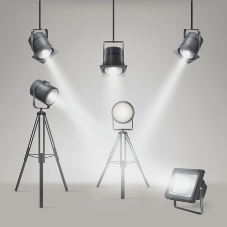 Set of scenic spotlights on a gray background