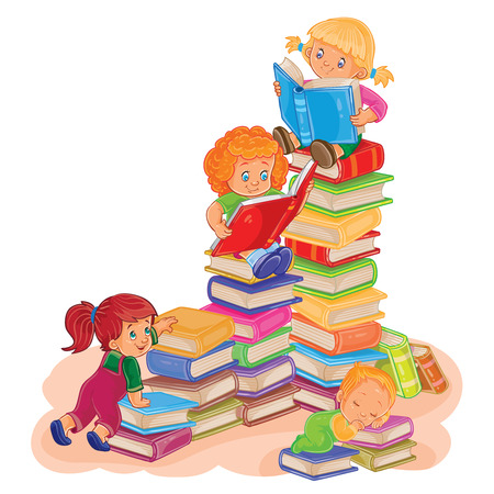 illustration of small children reading a book