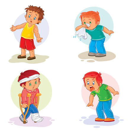 common cold: Set of icons little boy and sick Stock Photo