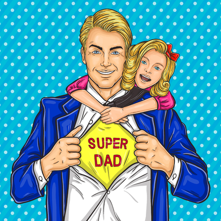 illustration of a super dad and his beloved daughter